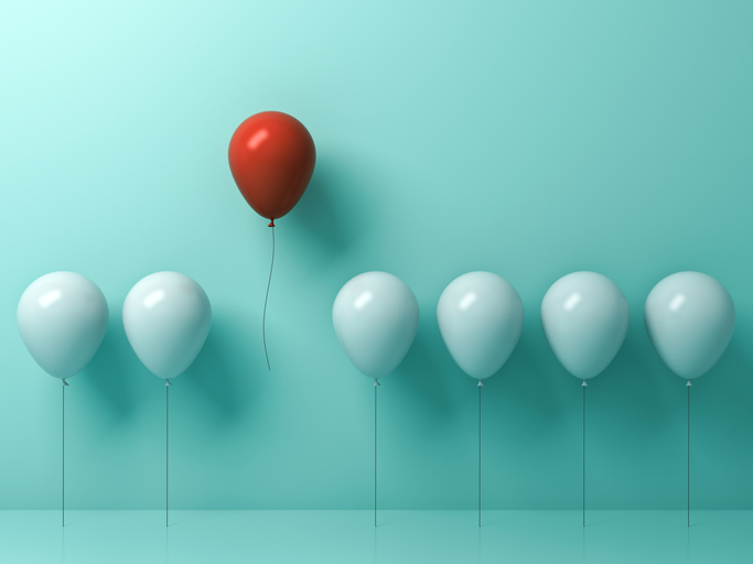 Stand out from the crowd and different concept , One red balloon flying away from other white balloons on light green pastel color wall background with reflections and shadows . 3D rendering